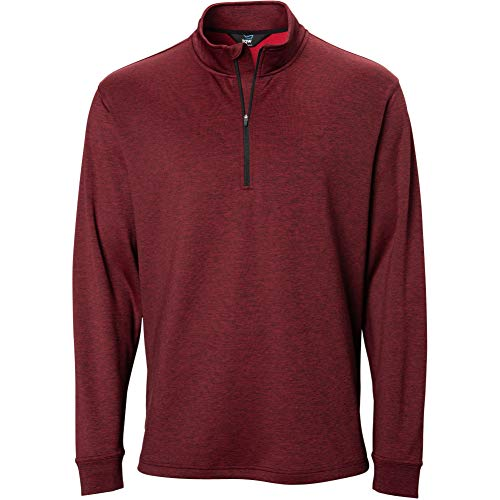 (TGW Mens Player Heather 1/4 Zip Pullover Red 2XL)