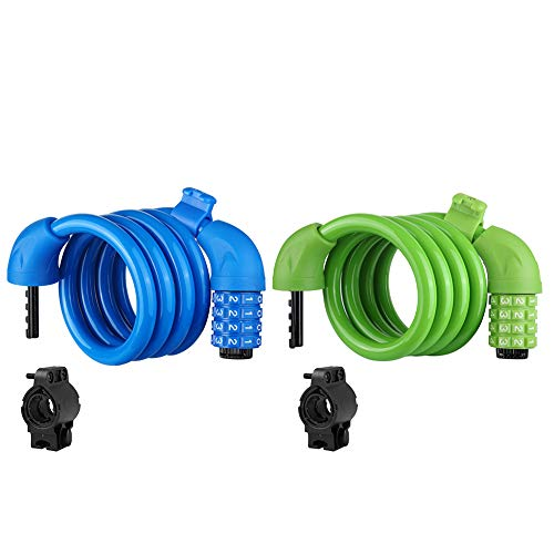 Titanker Bike Lock, 2-Pack Bike Locks Cable 4 feet Coiled Secure Resettable Combination Bike Cable Lock with Mounting Bracket, 1/2 Inch Diameter (Blue+Green)