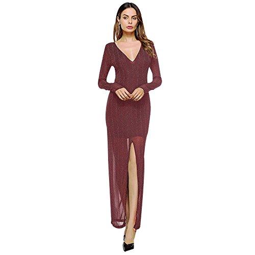 de Red color manga original mujer sólido de larga nueva Vestido de de otoño original 6aCqw6Ox