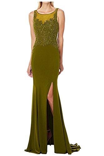 Damen Etuikleider Partykleider mit Lang Perlen Olive Gruen Charmant Abendkleider Brautmutterkleider Festlichkleider d6Xdqw