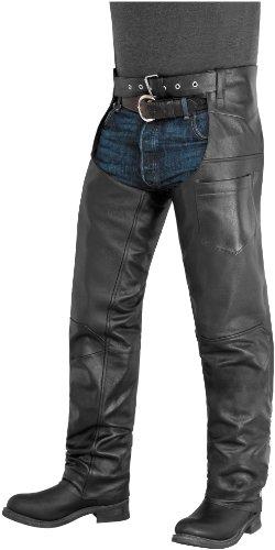 River Road Plains Leather Chaps - Large/Black