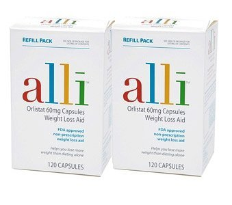 alli Weight Loss Aid Refill Pack Capsules - 120 Capsules, Pack of 2