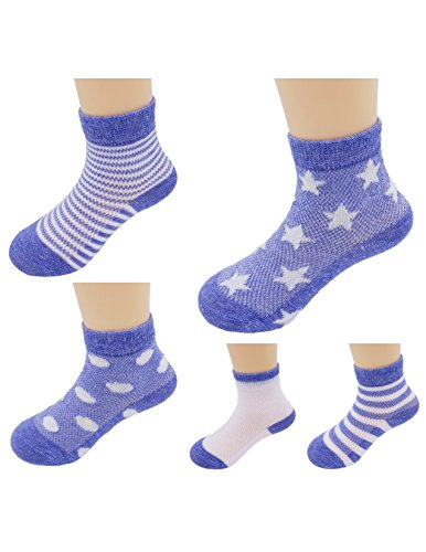 Price comparison product image Ayli Little Girls' Quarter Length Cotton Socks, Blue Stripes and Stars, 5 Pairs, sk7c337s13