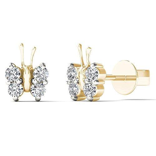 Diamond Big Earrings (JewelAngel Kids Big Girl's 1/5 Carat TDW Diamond Dainty Butterfly Stud Earrings (H-I, I1-I2) 10K Yellow Gold)