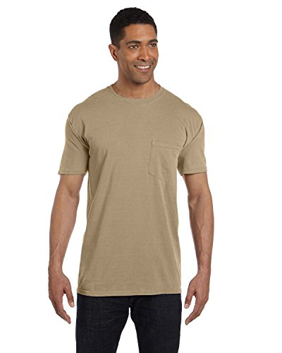 (Pigment-Dyed Short Sleeve Shirt with a Pocket, Color: Khaki, Size: XX-Large)