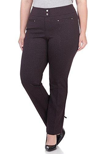 Rekucci Curvy Woman Secret Figure Knit Plus Size Straight Pant w/Tummy Control