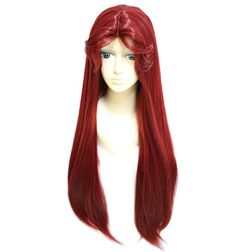 ZYC Wigs Teen Titans Starfire Natural Long Straight Princess Wine Red Synthetic Cosplay Wig for Halloween Party Costume]()