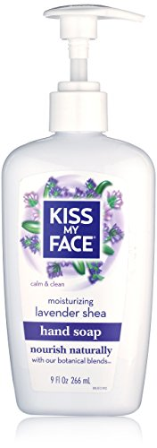Kiss My Face Moisture Liquid Hand Soap, Lavender and Shea, 9 oz Pumps (Pack of 2)
