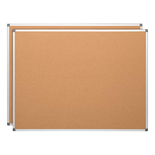 Learniture LNT-127-48962-SO Natural Cork Board w/ Aluminum Frame, Brown (Pack of - Board Cork Aluminum