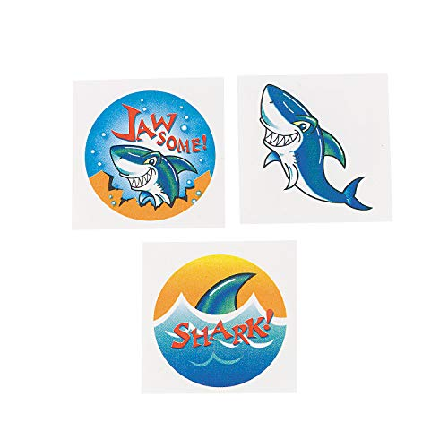 Fun Express - Shark Tattoos (6dz) for Party - Apparel Accessories - Temporary Tattoos - Regular Tattoos - Party - 72 Pieces -
