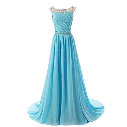 Dressystar 800003 Beaded Straps Bridesmaid Prom Dresses with Sparkling Embellished Waist 10 Blue