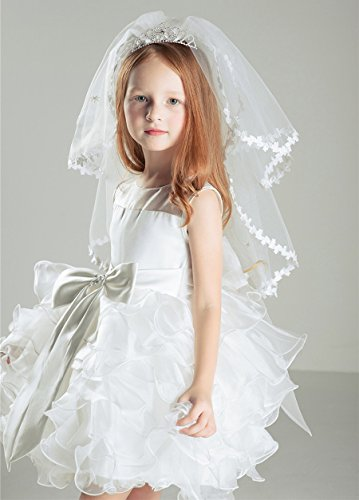 AliceHouse Girl's Two Layers Rhinestone Tiara Bridal Flower Girls Veil MGV09 by AliceHouse (Image #2)
