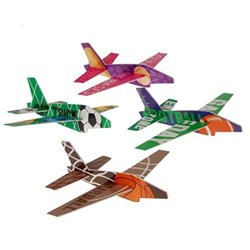 Sport Plane - Lot Of 12 Assorted Sports Theme Styrofoam Jet Plane Gliders