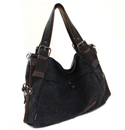Top Tote Leather Cross Hobo handle Canvas Bag Women's Vintage Body Purse Shoulder Handbag Black Tianhengyi tXwF8qn