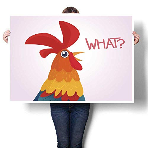 Anyangeight Wall hangings Cartoon Rooster with Bright Feathers on The Tail and a red Crest Vector Illustration Design for Print Sticker Banner Decorative Fine Art Canvas Print Poster K 28