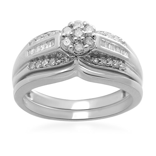 Jewelili Sterling Silver 1/3 cttw Round and Baguette Cut Diamond Bridal Set Ring, US6