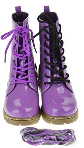 Shoe Dezigns Declyn 01 Womens Patent 2 Color Lace Combat Boots Purple 10