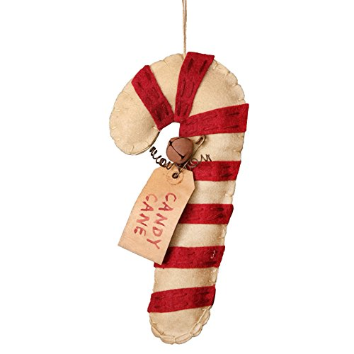 Candy Cane Striped Rustic Stitched 8 Inch Felt Christmas Ornament Figurine