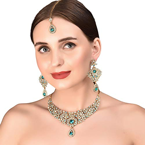 (Touchstone Hollywood Glamour White Faux Green Emerald Faux Blue Quartz Colorful Grand Designer Wedding Jewelry Hasli Necklace Set for Women in Antique Gold Tone.)