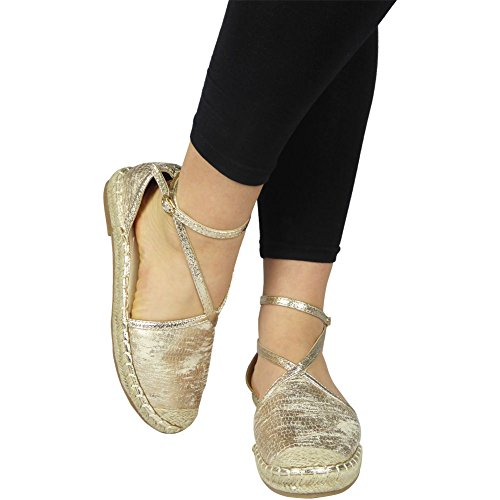 Loud Look New Ladies Ankle Strap Buckle Summer Espadrilles Sandals Size 3-8 Gold irCpoU