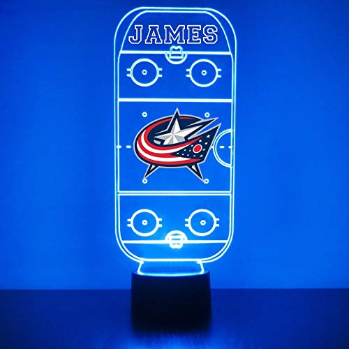 Columbus Handmade Acrylic Personalized Blue Jackets Hockey Rink LED Night Light - Remote, 16 Color Option, Great Personalized Gift, Engraved