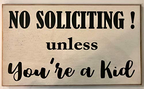imouSde No Soliciting Unless Youre A Kid Wood Signs Rustic with Quotes No Salesmen Sleeping Baby Night Shift Worker Keep Out Plaque Door Sign