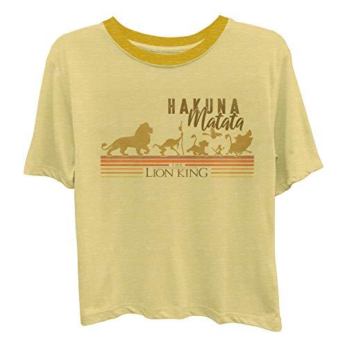 Disney Ladies Lion King Fashion Shirt - Ladies Classic Hakuna Matata Clothing Lion King Contrast Neck Tee (Pale Gold, Small)]()