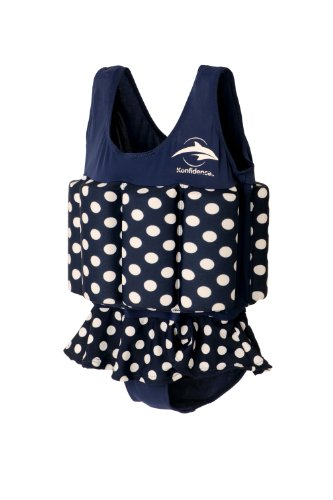Konfidence Floatsuit, Navy Polka Dot, 1-2 Years