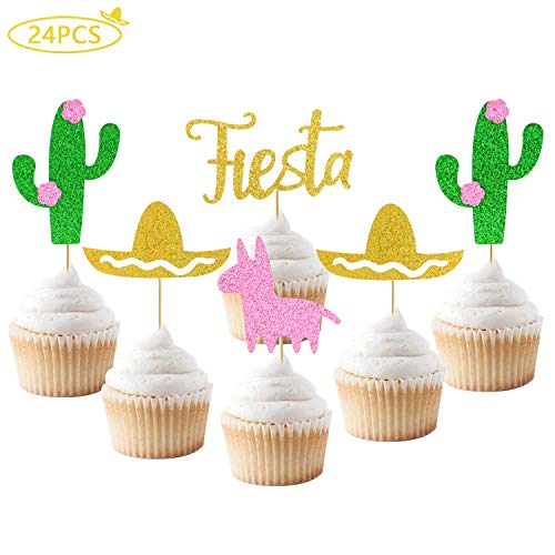 Joymee 24Pcs Glitter Fiesta Cupcake Toppers Cactus Pinata Sombrero Cupcake Toppers for Mexican Party Fiesta Party Tropical Party Baby Shower ()