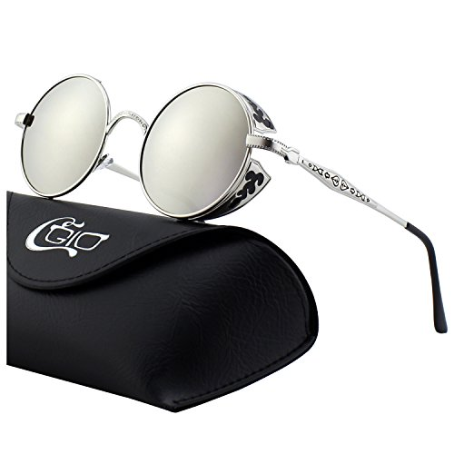 CGID E71 Retro Steampunk Style Inspired Round Metal Circle Polarized Sunglasses for Women ()
