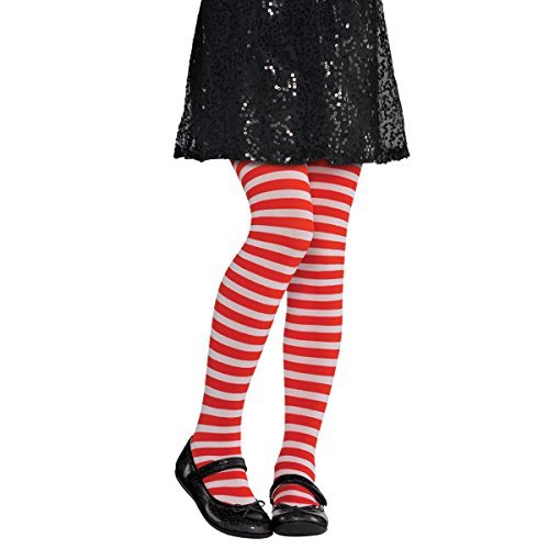 Amscan 844783 White Striped Tights, Child M/L, Standard, Red -