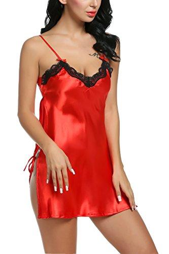 cooshional Camisón Lencería Ropa Interior de Dormir Pijama para Mujer Satén Seda Encaje Sin Manags Cuello en V Rojo