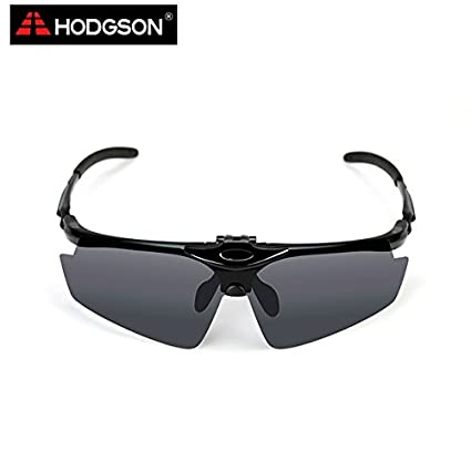 f09aa46e68 Bright Black   HODGSON 1002 New Arrival Male and Female Polarized Cycling  Goggles Bike Cycle Glasses Sunglasses Sport Eyewear with flip lens   Amazon.in  ...