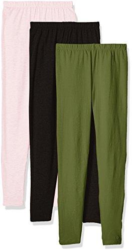 Limited Too Little Girls' 3 Pack: Leggings, Baby Pink/Olive/Darkest Black, 5/6 - Girls Leggings Size 7