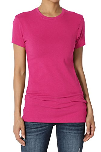 TheMogan Women's Basic Crew Neck Short Sleeve T-Shirts Cotton Tee Magenta (Magenta Apparel)