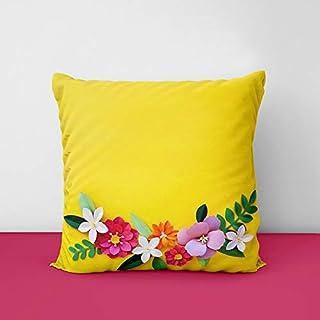 41rWM14qMsL. SS320 Yellow Flower Designs Printed Square Cushion Cover