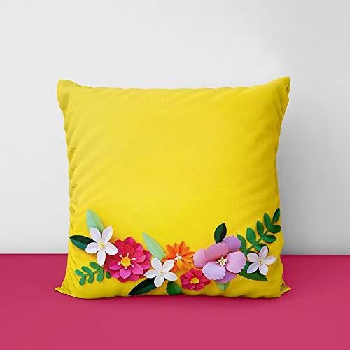 41rWM14qMsL Yellow Flower Designs Printed Square Cushion Cover