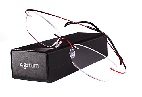 Agstum Pure Titanium Rimless Frame Prescription Hingeless Eyeglasses Rx (Red