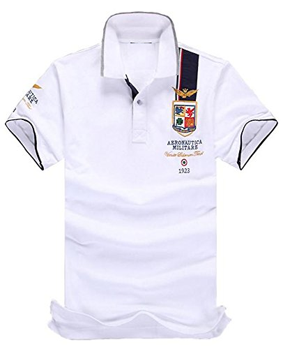 (SGL Collection) ポロシャツ メンズ 半袖 デザイン ワッペン 刺繍 ライン スリムフィット 薄手 バイカラー スキッパー 5色選択 大きい サイズ あり XS ~ XXXL 【 日本向け オリジナル サイズ仕様 】