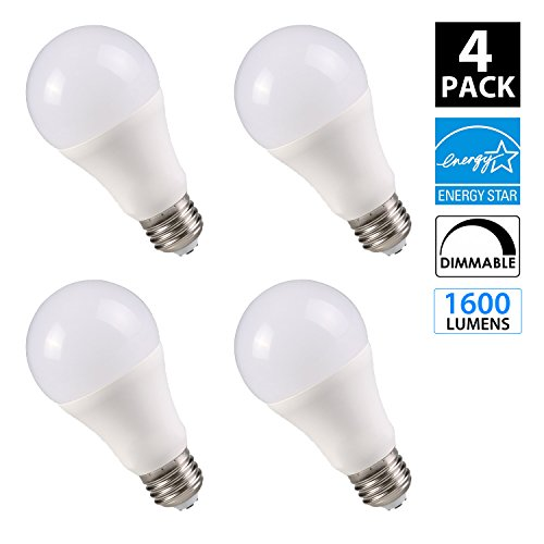 OptoLight 17W LED Light Bulb A21 - 1600 Lumens - DIMMABLE - 2700K (Warm White Glow), Omni-Directioinal, E26 Medium Screw Base, 100W Equivalent, INSTANT ON, UL Listed (4-Pack)