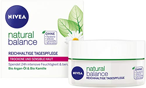 Genuine German Nivea Natural Balance Rich Day Cream for Dry and Sensitive Skin - 1.69 fl.oz / 50ml imported from Germany