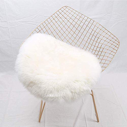 YJ.GWL Super Soft Shaggy Faux Fur Sheepskin Chair Cover Area Rugs for Bedroom Sofa Fluffy Seat Pad, 1.2' Round (Fur Chair Faux Throw)