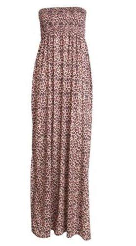 Print Tube Maxi Dress (New Womens Plus Size Boob Tube Printed Sheering Summer Maxi Dress 8-26 ( Leopard Print, 2X ))