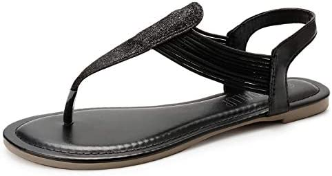 SANDALUP Women's Elastic Strappy Flat Sandals w Sparkling