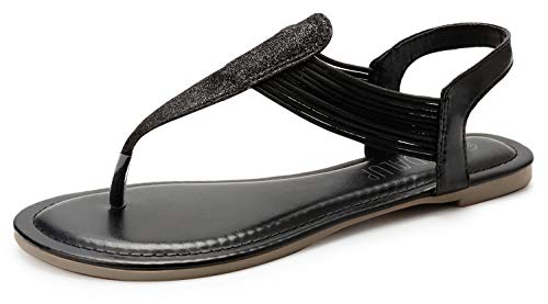 - SANDALUP Women's Elastic Strappy Flat Sandals w Sparkling Thong Sandals for Women Black 08