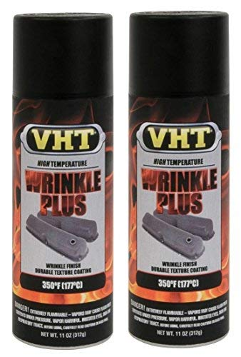 VHT Wrinkle Plus Coatings Paint High Temp SP201 Black 11 oz Spray - 2 PACK