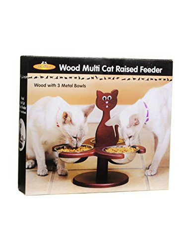 Etna Pet Store Wooden Multi-Cat Raised Feeder with 3 Metal Food Bowls/Dishes -Promotes Better Digestion, Prevents Feline Acne, Stops Food Competition, and Keeps Food Dirt and Pest (Store Cats)