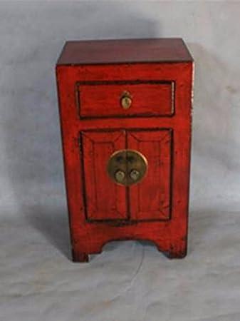 Fine Asianliving Nachttisch Chinese Furniture Nachttisch Kleiner Schrank  Antik Rot Glänzend Lackiert Nachttischmöbeln Oriental Asiatischen Wohnzimmer