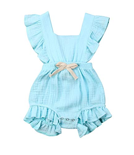 Qiylii Infant Baby Girl Ruffle Sleeve Romper One-Piece Bowknot Cotton Bodysuit Jumpsuit Outfit Clothes (6-12 Months, Blue)