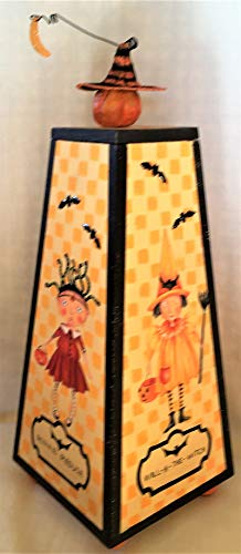 BABES IN HALLOWEEN LAND - Handmade, Hand Sculpted, Halloween, Box, Decorative, Hand Painted, Children's, Decoration, Holiday, Witches Hat, Pumpkin, Bats, 4 Sided, Gift for $<!--$120.00-->